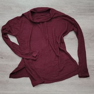 Lucky Oversized Maroon Ribbed Mock Neck Top